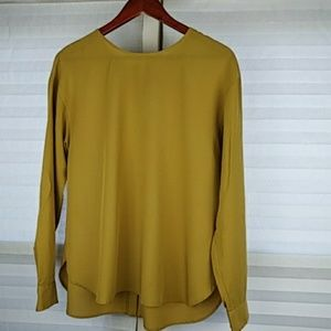 Mustard Yellow Blouse with Button Detail